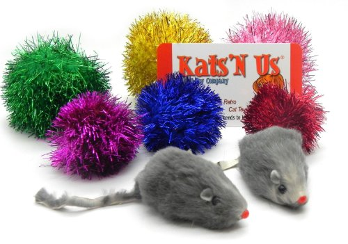 Kats'N Us Sparkle Ball Jumbo Sparkle Ball & Mouse Cat Toy Pak