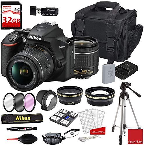 Nikon D3500 DSLR Camera with AF-P DX NIKKOR 18-55mm f/3.5-5.6G VR Lens + Deluxe DSLR Camera Case + 32GB Extreme Memory Bundle (24pcs)