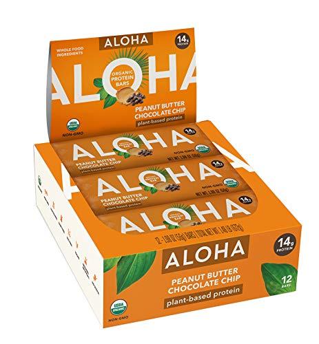 ALOHA Organic Plant Based Protein Bars  Peanut Butter Chocolate Chip   12 Count, 1.9oz Bars   Vegan, Low Sugar, Gluten Free, Paleo, Low Carb, Non-GMO, Stevia Free, Soy Free, No Sugar Alcohols