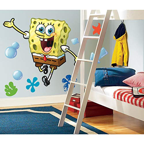 RoomMates Spongebob Squarepants Peel and Stick Giant Wall Decal,Multicolor,Pack of 1