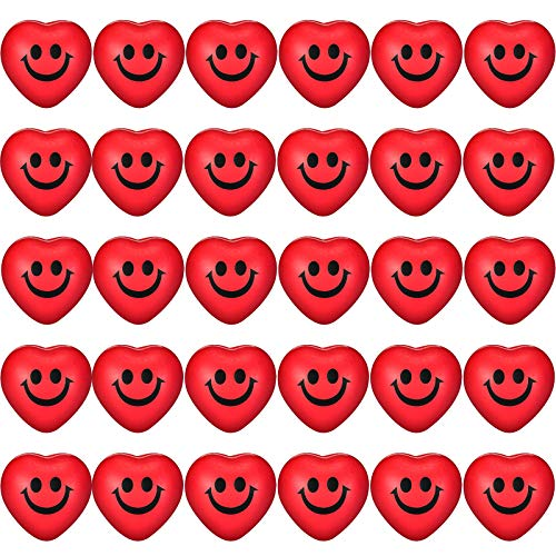Red Heart Smile Funny Face Stress Balls, Mini Foam Ball, Stress Relief Smile Balls for School Carnival Reward, Valentine Party Bag Gift Fillers (30)