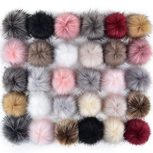 Coopay 30 Pieces Faux Fox Fur Pom Pom Balls DIY Fur Fluffy Pom Pom with Elastic Loop for Hats Keychains Scarves Gloves Bags Charms Knitting Accessories (Popular Mix Colors)