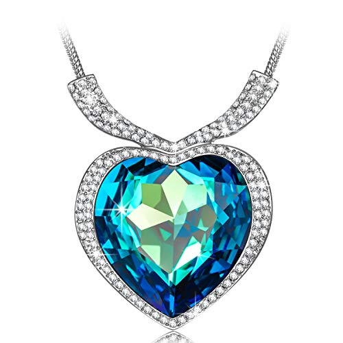 QIANSE Mothers Day Necklaces Gifts for Her Venice Dream Ocean Blue Heart Pendant Necklace SWAROVSKI Crystal Women Fashion Necklace Jewelry Birthday Gifts for Daughter Sister Girlfriend Wife Mom