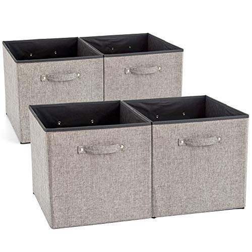 EZOWare 4 Pack Fabric Foldable Cubes Bin Organizer Container with Handles for Nursery, Closet, Office, Home - Gray (13 x 15 x 13 inch)