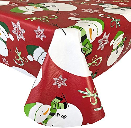 "Newbridge Red Swirling Snowman Print Flannel Back Vinyl Christmas Tablecloth - Adorable Snowmen, Candy Canes and Snowflakes Xmas Wipe Clean Easy Care Tablecloth, 70"" Round"