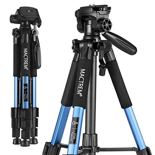 MACTREM M-PT55-Bk PT55 Travel Camera Tripod Lightweight Aluminum for DSLR SLR Canon Nikon Sony Olympus DV with Carry Bag -11 Lbs(5Kg) Load (Blue)
