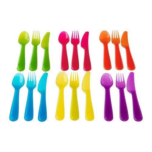 2 X Ikea Kalas 901.929.62 18-Piece BPA-Free Flatware Set, Multicolored