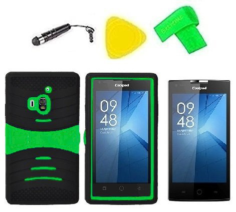 Hybrid w Kickstand Cover Case Phone Accessory + Extreme Band + Stylus Pen + Screen Protector + Pry Tool for Coolpad Rogue 3320 3320A (S-Hybrid Black Green)