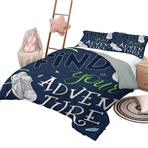Nomorer Quilt Set with Sheets Twin Size Adventure Custom Bedding Machine Washable Forest Sneakers Youth