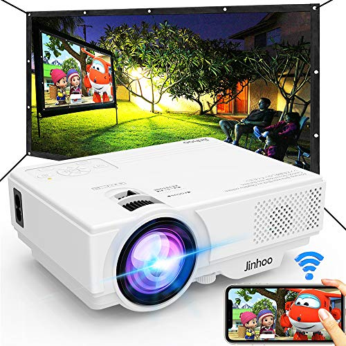 WiFi Mini Projector, 2020 Latest Update 5500 Lux [100' Projector Screen Included] Outdoor Movie Projector, Supports 1080P Synchronize Smartphone Screen by WiFi/USB Cable for Home Entertainment