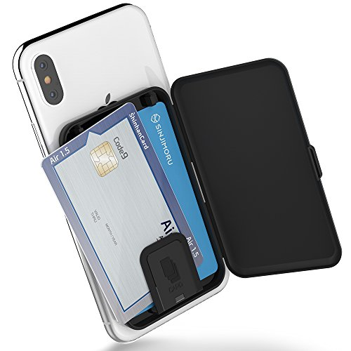 Sinjimoru Phone Card Holder Stick-on Phone Card Case, Phone Wallet Credit Card Holder on Back of Phone with up to 3 Cards and Cash Storage. Card Zip Black.