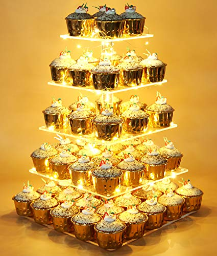 Vdomus Pastry Stand 5 Tier Acrylic Cupcake Display Stand with LED String Lights Dessert Tree Tower for Birthday / Wedding Party