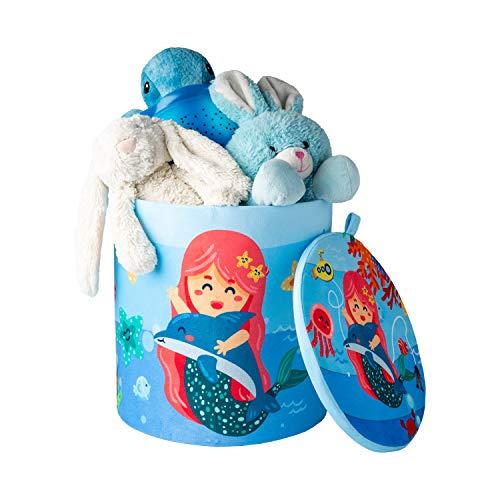 Kids Toy Storage Stool – Use As Baby/Kid Laundry Hamper or Toys Storage Bin – Toys Organizer Basket/Chest - Mermaid Design - 10.23' x 10.78'