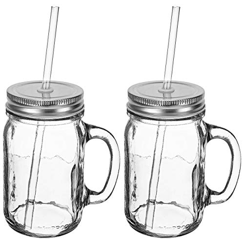 Southern Homewares SIPPER HANDLE SET 16oz Mason Jar Sippin' Lid Acrylic Straw Reusable Novelty Cocktail Glasses Shabby Chic 2 Pack, Clear