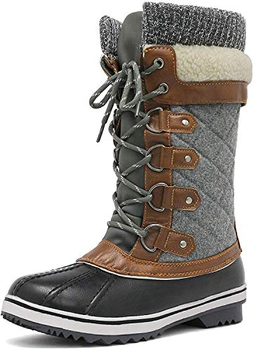 DREAM PAIRS Women's Monte_02 Black Grey Mid Calf Winter Snow Boots Size 8 M US