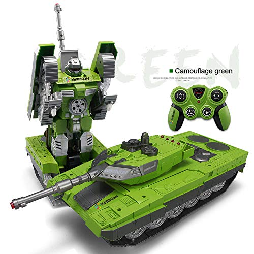 YARMOSHI Remote Control Tank Robot Toy. Launches Soft Bullets, Plays Battle Sounds and Does Battle Dance. Flashing Lights. Kids 3 - 12