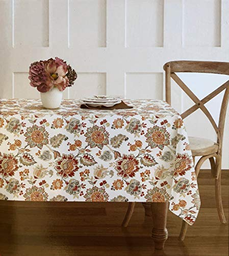 Envogue Fabric Tablecloth French Jacobean Floral Pattern in Autumn Colors Shades of Beige Taupe Blue Red Orange on White - 60 Inches by 84 Inches