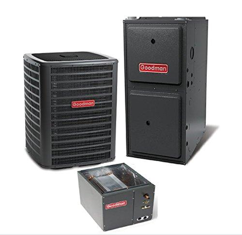 2.5 Ton Goodman 14 SEER R410A 96% AFUE 60,000 BTU Vertical Gas Furnace Split System