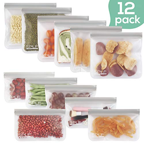 SPLF 12 Pack BPA FREE Reusable Storage Bags (6 Reusable Sandwich Bags, 6 Reusable Snack Bags), Extra Thick Leakproof Silicone and Plastic Free Ziplock Lunch Bags Food Storage Freezer Safe