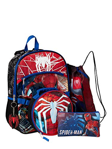 Fast Forward The Amazing Spiderman 5 Piece Backpack Set, Red Blue White, 16 inches H x 12 inches W x 5inches D