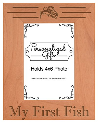 4x6 Fishing Frame My First Fish Picture Frame Fishing Gift Wood Engraved 4x6 Portrait Picture Frame