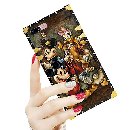 DISNEY COLLECTION Luxury Square Case for iPhone 7/8 Plus 5.5' Mickey Mouse and Donald Duck Pattern Design Flexible Reinforced Metal Decoration Corners Shockproof Slim Cover