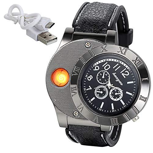 JewelryWe Mens Novelty Cigarette Lighter Watch USB Charging Windproof Quartz Wrist Watch, for Xmas