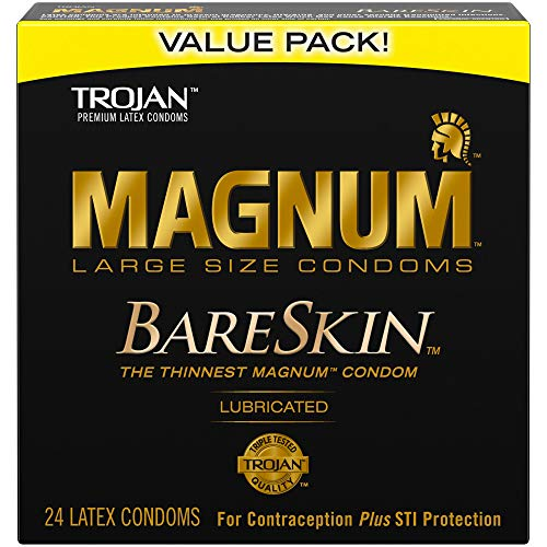 TROJAN MAGNUM BARESKIN Large Size, Premium Quality Latex Condoms, 24 Count