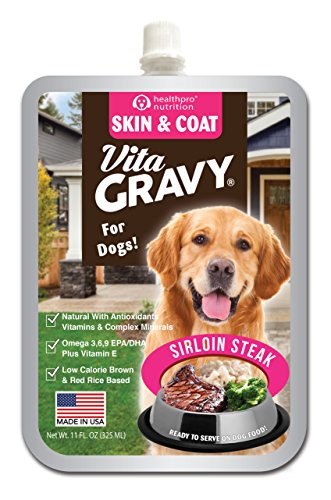 VitaGravy Skin and Coat Supplement, Delicious Sirloin Steak Flavor – For Dogs of All Ages, Sizes, Breeds – 11 Ounce, up to 44 Servings