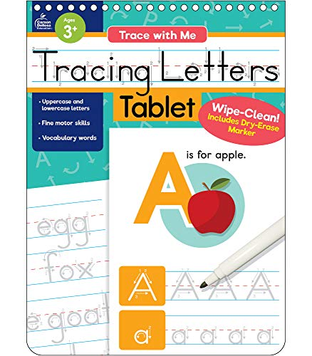 Trace with Me: Tracing Letters Tablet, Ages 1–5, 32 Pages, Wipe-Clean Writing Practice with Dry-Erase Pen