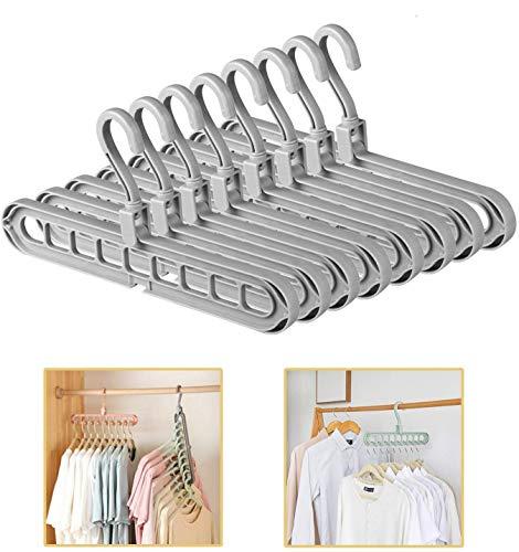 ESOUL TECHNOLOGY Magic Hangers Closet Space Saving Clothes Hanger Organizer Pack of 8 Plastic Suit Hangers 360 Degree Swivel 8gray