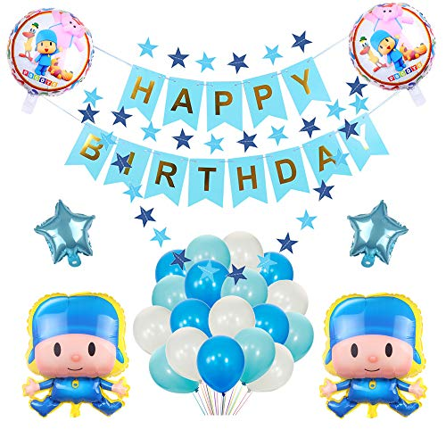27 PCS Pocoyo Balloons Birthday Party Supplies for Kids Baby Shower Party Decorations