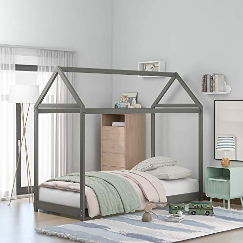 Merax Twin Size Wooden House Bed with Roof Can Be Decorated for Kids, Teens, Girls, Boys, Children House Bed Frame Twin Size Floor Bed, Grey