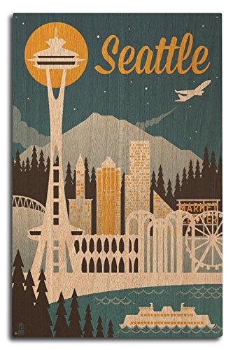 Lantern Press Seattle, Washington - Retro Skyline (10x15 Wood Wall Sign, Wall Decor Ready to Hang)