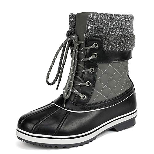 DREAM PAIRS Women's Monte_01 Grey Mid Calf Winter Snow Boots Size 9 M US