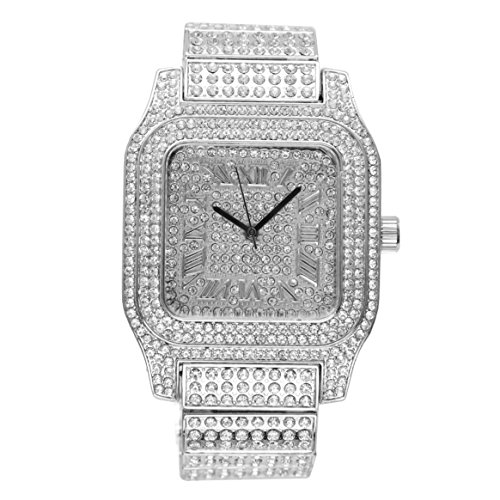 Bling-ed Out Biggie Square Iced Gold Hip Hop Watch You Will Hypnotize in a Flashy Way - 0513Sq (Silver)