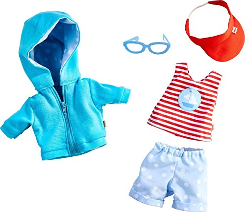 HABA On The Beach 5 Piece Outfit with Hooded Sweatshirt, Shorts, Tee, Sunglasses & Hat - Fits 12' Soft Dolls