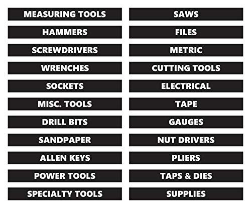 Toolbox Organizational Magnetic Labels by DCM Solutions (Black, 0.5'H x 4.5'W)