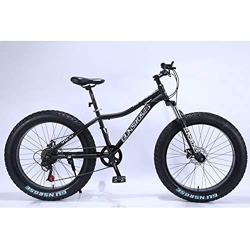 Swiusd Fat Tire Bike for Men Women, 26Inch 27 Speed Hardtail Mountain Bike, Dual Suspension Frame and Suspension Fork All Terrain Snow Mountain Bike (26 inch, 21 Speed)