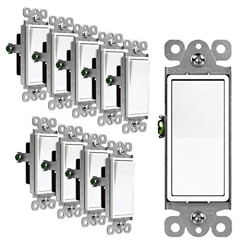 ENERLITES Decorator Paddle Rocker Light Switch, Single Pole, 3 Wire, Grounding Screw, Residential Grade, 15A 120V/277V, UL Listed, 91150-W-10PCS, White (10 Pack)