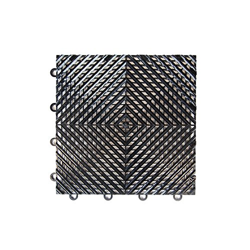 IncStores Vented Nitro Garage Tiles 12'x12' Interlocking Garage Flooring (Black - 52-12'x12' Tiles)