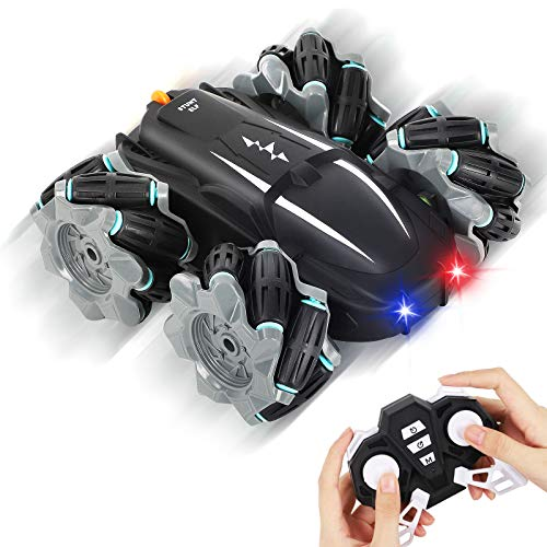 Auney Remote Control Car, RC Cars Stunt Car Toy for Kids, Double Sided 360° Rotating & 180° Fliping 2.4GHz Racing Cars with Led Lights Toy Cars for Boys Girls (Black)