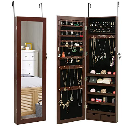Marble Field Mirrored Jewelry Cabinet Lockable Wall Door Mounted Jewelry Armoire Organizer, Brown