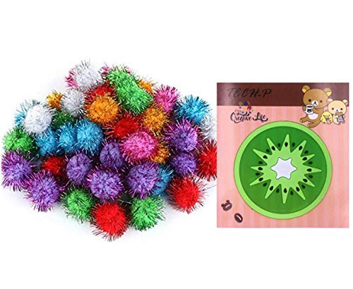 TECH-P Arts Craft Pom Poms Glitter Poms Sparkle Balls– Assorted Color (1.5 Inch with Glitter Tinsel- 100 Pack) With1 PCS TECH-P Coaster