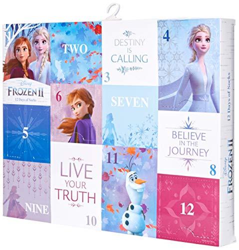 Disney womens Frozen Women's 12 Days of Advent Box Socks, Assorted Bright-frozen 2, 9 11 US