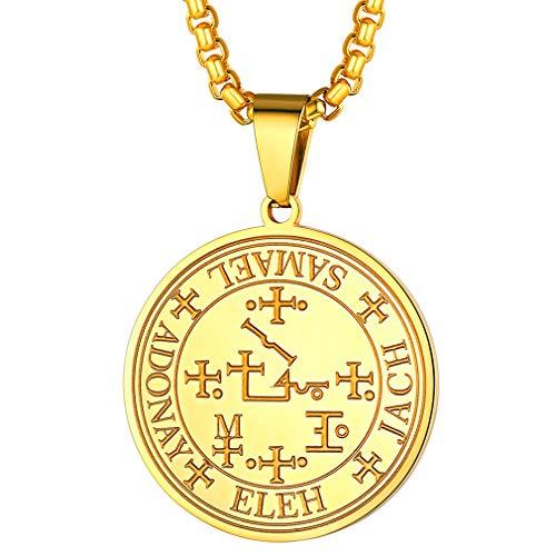 FaithHeart Men Sigil of Archangel Anael Talisman Necklace Gold Plated Amulet Keep Me Safe and Positive Inscription Prayer Medallion Pendant Jewelry Golden