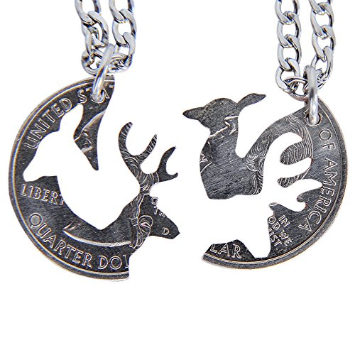 Marycrafts Buck and Doe Interlocking Necklace Set Quarter Coin Cut BBF, Couples Jewelry Relationship Deer Heads (14 Inches)