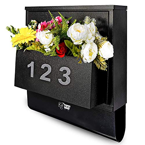 Gj Way Locking Mailbox Wall Mounted with Planter Box, Newspaper Holder - Glow in The Dark Reflective Numbers 0-9 (2 Times) - Large Size, Strong and Thick 1.4mm Galvanized Steel