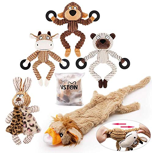 VSTON Squeaky Dog Toys for Boredom, 5 Pack Chew Toysfor Puppy Small Medium Dog Pets Teething Monkey Bull Racoon Rabbit Lion Skin,Resistant to Pull and Drag (Dog Toy 5 Pack)
