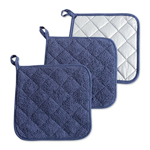 DII 100% Cotton, Quilted Terry Oven Set Machine Washable, Heat Resistant with Hanging Loop, Potholder, French Blue 3 Count